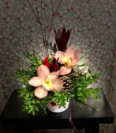 Cardinal & Orchids Flower Arrangement