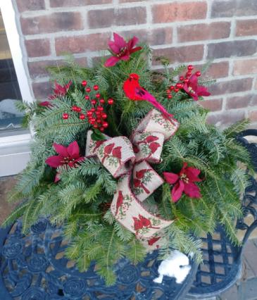 Cardinal Porch Pot Winter