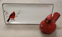 Cardinal Tray & Figurine Gift Set