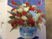 Cardinals and blue  ornament  Table arrangement