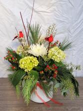 Cardinals Appear Vase Arrangement