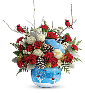 Cardinals in Snow Ornament Teleflora in Springfield, IL | FLOWERS BY MARY LOU INC