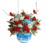 Cardinals in the Snow Christmas Arrangement