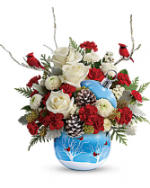 Cardinals in the Snow Christmas Bouquet