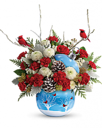 cardinals in the snow  christmas greens and flowers in  keepsake cardinal ornament
