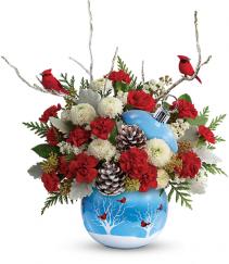 Cardinals In The Snow Floral Arrangement