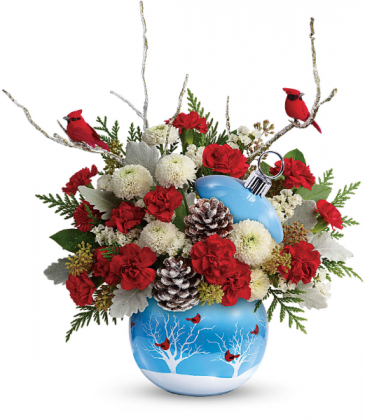Cardinals In The Snow Floral Arrangement