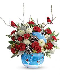 Cardinals in the snow ornament Christmas arrangement