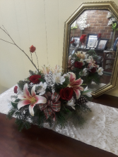 Cardinals in winter centerpiece