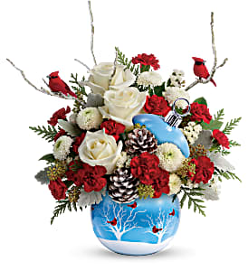 Cardinals & Roses in Snow Ornament christmas