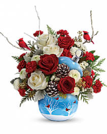 Cardinals Snow Ornament Fresh Flowers