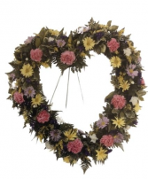 Carnation and chrysanthimum Heart Funeral