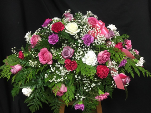 Carnation and Roses Casket Spray in Red Lake, ON | FOREVER GREEN GIFT BOUTIQUE