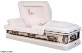 CARNATION CASKET 18 Gauge; White/Silver Rose; Pink Velvet