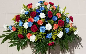 Carnation Casket Spray Choose Your Own Colors in Indianapolis, IN | SHADELAND FLOWER SHOP
