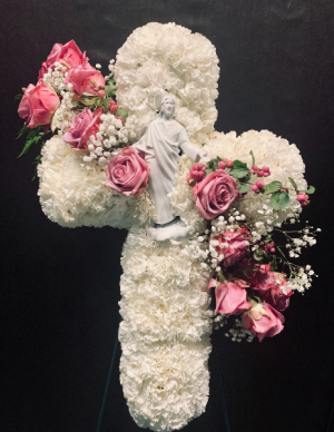 Carnation Cross with Pink Rose detail  in Houston, TX | FLOWER FACTORY PLUS