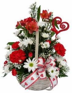Carnation Daisy Delight Valentine's Basket Arrangement