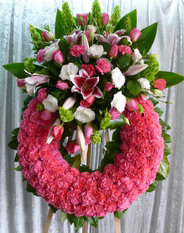 R.I.P. CARNATION WREATH W/CLUSTER STAND WREATH FOR A SERVICE/MEMORIAL