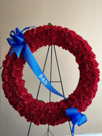 Carnation Wreath with Custom Banner