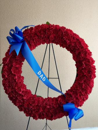 Carnation Wreath with Custom Banner