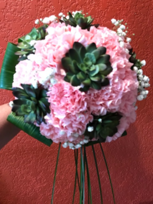 Carnations and succulents Bridal Bouquet in Benbrook, TX | BENBROOK FLORAL LLC.