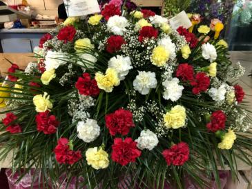 carnations Casket Spray Sympaty