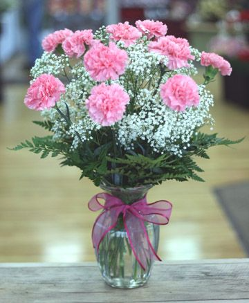 Carnations For Mom Vase of Pink Carnations