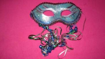 carnival mask blue hair piece