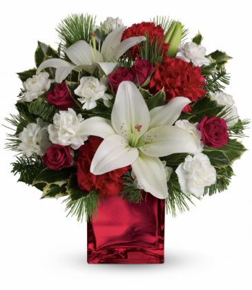Caroling In The Snow All-Around Floral Arrangement