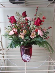 Caroling in the Snow Custom Fitzgerald Flowers Arrangement