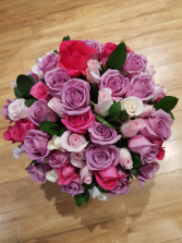 EXQUISITE BOUQUET lavender, pink, and hot pink roses