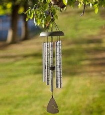 Carson Windchime:  30 inch Silver and Black Windchime