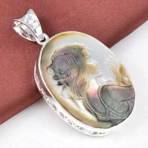 Carved Shell Pendent Silver Plated 18 inch necklace