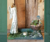 Carved wooden angel succulent garden plants