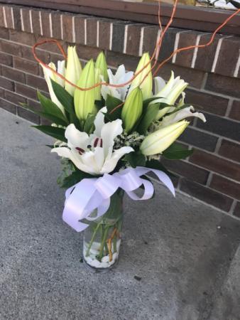 Casablanca Lilies in Vase
