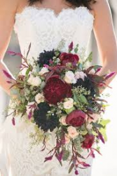 Cascading Burgundy Bridal Bouquet