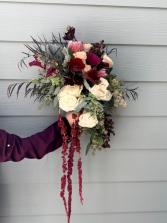 Cascading Burgundy Bridal Bouquet  Wedding