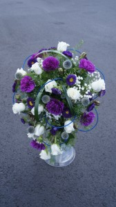 Cascading Purple and White Wedding Bouquet