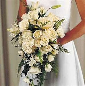 Cascading Splendor White Roses and Lilies