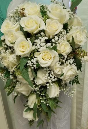 Cascading White Roses Wedding Bouquet Cascading White Roses Wedding Bouquet