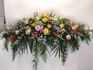 Casket Arrangement w/mixed Flowers  Casket Arrangement in North Bend, OR | PETAL TO THE METAL FLOWERS