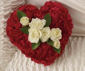 Casket heart Heart displayed inside casket near loved one in Ozone Park, NY | Heavenly Florist