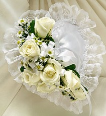 Casket Heart With White Roses