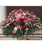 Peaceful Pink Carnations Casket Spray