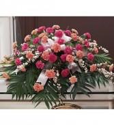 Peaceful Pink Carnations Casket Spray