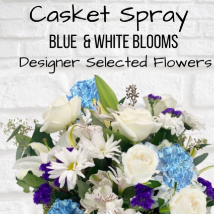 Casket Spray-Blue & White