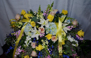 Blue Bell Casket Spray  Funeral  in Cincinnati, OH | Reading Floral Boutique