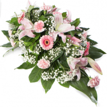 Spray in Pinks small casket or Standing Spray in  pinks and whites