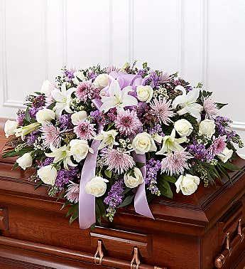 Casket Spray Mixed Lavender & White