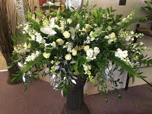 Casket Spray-Mixed White Funeral Flowers in Winston Salem, NC | RAE'S NORTH POINT FLORIST INC.